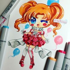 Chibi of a humanised Circus Baby from FNAF Sister Location. My circus baby looks like a magical girl, lol. #sisterlocation #fnaf #copicmarkers #instagramartist #instaartist #fanart #copics #copic #chibi #circus #baby #cute #traditionalart