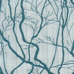 Twigs Teal Woven Embroidered Look Upholstery Fabric
