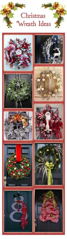 10 Beautiful Christmas Wreath Ideas | Bridgman  Love the Santa one, also trying to make one with a blue color scheme!!