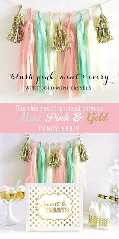 Gold Pink and Mint Wedding Party Decor Garlands - great for baby showers, birthday parties and more - by Mod Party