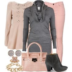 """""""Grey & Pink"""" by michelle-hersh-wenger on Polyvore (I like)"""