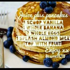 Pancake recipe with Juice Plus Complete #juiceplus                                                                                                                                                     More