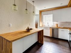 Furniture, Modern Minimalist Kitchen Spaces With White Wall Interior Color And Dark Hardwood Floor Tiles Plus DIY White Cabinet With Custom Butcher Block Countertops ~ Butcher Block Countertop