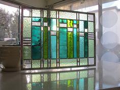 Bleus et verts abstraite moderne de vitraux par VancouverStainGlass