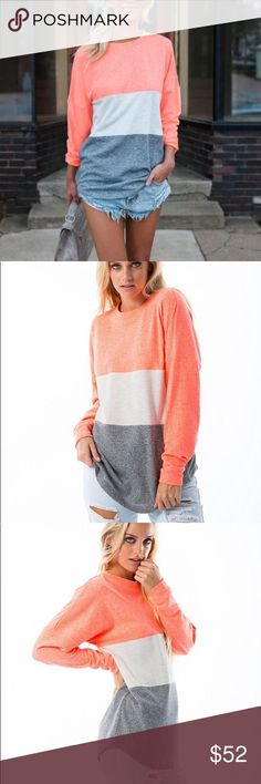 Neon Coral sweater We restocked out super popular neon coral sweater! This is a MUST have! Get it before it sells out again! Fits true to size Sweaters