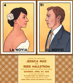 Mexican Loteria Invitations | Another wedding invitation, this one in the style of Mexican Loteria ...