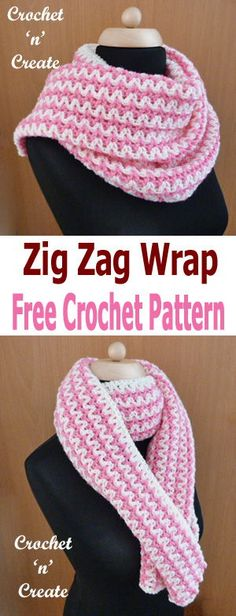 Use the zig-zag wrap to cover your shoulders when the summers evenings cool down, free crochet pattern. #crochetncreate
