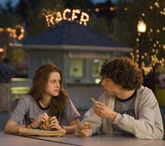 "Kristen Stewart and Jesse Eisenberg portray the characters of Emily ""Em"" Lewin and James Brennan respectively in the movie ""Adventureland""......"