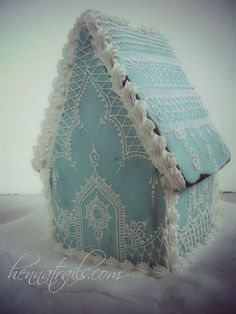 Gingerbread cottage in baby blue