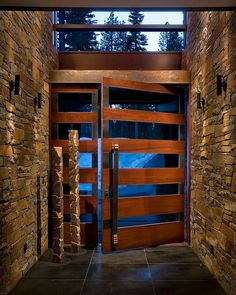 23 ideas exterior stone wall design entrance for 2019 Contemporary Front Doors, Modern Front Door, Front Door Design, House Doors, House Entrance, Entrance Doors, Door Entryway, Entrance Ideas, Modern Mountain Home