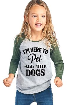"""Girl's Graphic Baseball Tee """"I'm Here to Pet All the Dogs"""""""
