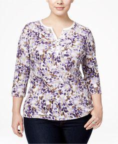 NWT 2XL Karen Scott Printed Henley Top New With Tag Plus size 3/4 Sleeve Cassis #KarenScott #Henley
