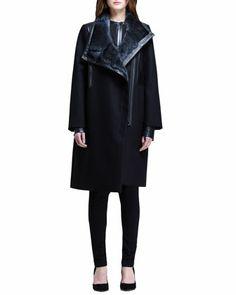 Oversized Fur-Collar Coat, Split-Back Shirt & Angled-Front Skinny Pants by Helmut Lang at Bergdorf Goodman.