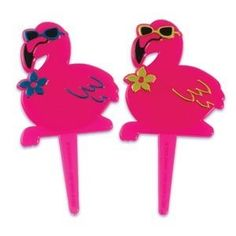 24 ct Pink Flamingo Luau Cupcake Picks ** Click image for more details.(This is an Amazon affiliate link)