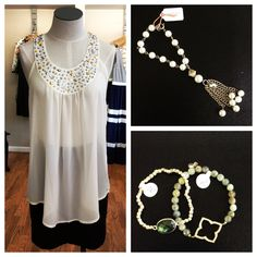 JAX Look of the Day! We love when a top has enough embellishment that it makes accessorizing easy! This tank (which is on clearance for only $15!!!) with rhinestone neckline just needs a little extra sparkle on your wrist for a complete outfit! We love this vintage pearl tassel bracelet or a few fun Inland Fashion bracelets! #jaxboutique #jaxhaddonfield #downtownhaddonfield #lookoftheday #blingbabe #inlandXjax