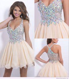 Amazing cream short dress with diamonds on top