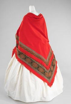 Wedding Shawl 1866, American, Made of wool ~~~~~ Long coats were impractical with the very full skirts, and the common outer garments were square shawls folded on the diagonal to make a triangle and fitted or unfitted hip-length or knee-length jackets.