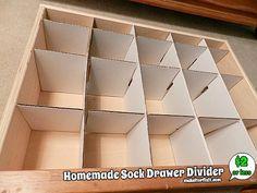 Homemade Sock Drawer Divider