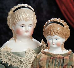 The Lifelong Collection of Berta Leon Hackney: 169 German Porcelain Lady with Light-Brown Hair in Elaborate Ringlets