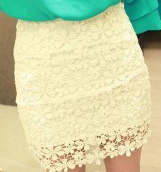 White High Waisted Lace Mini Skirt, so cute!