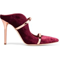 Malone Souliers Maureen metallic leather-trimmed velvet mules ($525) ❤ liked on Polyvore featuring shoes, velvet, plum, high heel shoes, metallic shoes, high heel mules, slip on mule shoes and plum shoes