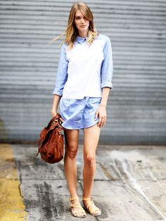 Der Streetstyle des Tages. Hemdblusenkleider aus Baumwolle oder Leinen sind luftdurchlässig und wirken im Sommer besonders kühlend auf der Haut.