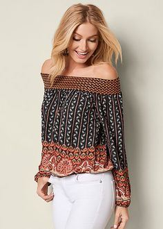 Turn to patterns this season that bring out the wanderer in you. Venus off the shoulder print top.