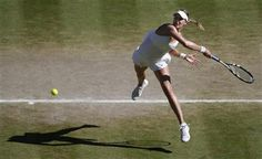 Eugenie Bouchard of Canada leaps as she plays a rerun to Simona Halep of Romania during their women's singles semifinal match at the All England Lawn Tennis Championships in Wimbledon, London, Thursday, July 3, 2014. (AP Photo/Sang Tan, Pool) ▼3Jul2014AP Bouchard gives Canada a Slam finalist at Wimbledon http://bigstory.ap.org/article/2011-champion-kvitova-advances-wimbledon-final #The_Championships_Wimbledon_2014 #Eugenie_Bouchard