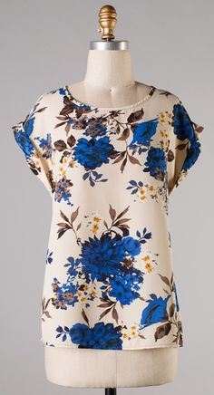 Blanche Top in Blue, would be cute with black high wasted shorts.