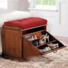 Use this wood shoe bench to add style and storage to a bedroom or entryway while providing a convenient place to sit. Our handsome Shoe Storage Bench hides up to 9 pairs of shoes under a roomy seat. Shoe Storage Bench White, Shoe Storage Seat, Shoe Storage Ottoman, Shoe Bench, Tufted Bench, Bench Cushions, Hidden Storage, Storage Shelves, Walnut Shelves