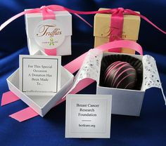 wedding truffle favors : a portion of the proceeds can be donated to one of over 20 charities of the couples choice. Chocolate Wedding Favors, Wedding Favours, Wedding Programs, Party Favors, Wedding Gifts, Wedding Blog, Wedding Day, Wedding Stuff, Wedding Things