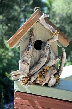 Rustic Birdhouses - Driftwood Accented Country Birdhouse - Free Shipping. $60.00, via Etsy.