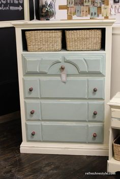 You can add interest to a painted piece of furniture, don't stop at just painting it. Add attractive hardware in an unexpected color or shape. Remove a drawer and add a basket.