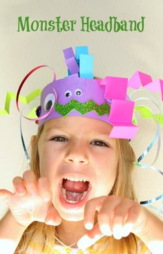 Monster Headband Craft for Kids. Perfect for a Halloween party craft or a simple process art craft for preschool class.