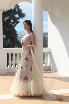 Generally not a huge fan of these, but this one is really pretty and elegant - Indian bridal outfit
