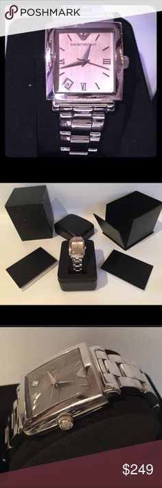 Giorgio Armani Watch Armani stainless steel square men's watch in silver color. Gently used. Works great, but needs a battery. Close up pics depict minor wear. Comes with original tag, box, care manual, instruction booklet and watch case. Protective plastic film is still attached to underside back of watch face, which can be seen by the red line in the plastic film across the back of the watch in pics. Giorgio Armani Accessories Watches
