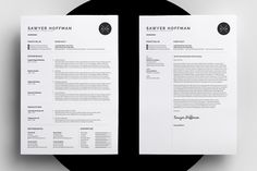 Resume/CV & Cover Letter Template - Sawyer by bilmaw creative on Creative Market Cv Resume Template, Resume Cv, Creative Resume Templates, Resume Advice, Business Resume, Branding Template, Resume Ideas, Resume Examples, Cv Cover Letter