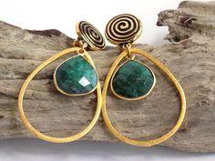 Green Earrings for Women, Gold Dangle Earrings, Gemstone Earrings, Clip on Earrings, Handcrafted Jewelry, Best Gift for Mom, Large Earrings #handmade #jewelry