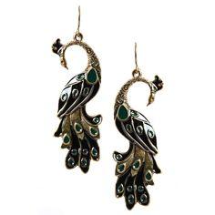Dusk Shade Metal Peacock Statement Earrings
