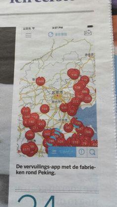 Een app in china die laat zien waar de meeste smog zit. Volkskrant 25 februari 2015.