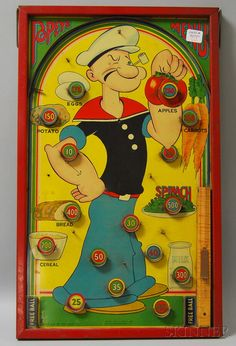 Vintage tin litho Popeye marble game board by Toy and Novelty Corp.