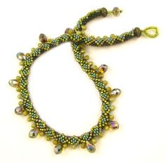 Diamond Drops Tubular Bead Crochet Necklace by Ann Benson