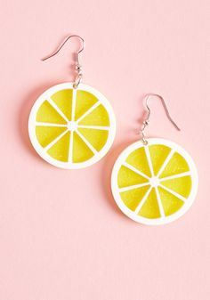 ModCloth Collectif Aim to Squeeze Lemon Earrings by Collectif from Diy Clay Earrings, Funky Earrings, Statement Earrings, Old Jewelry, Cute Jewelry, Jewlery, Bestie Gifts, Biscuit, Gifts For Her