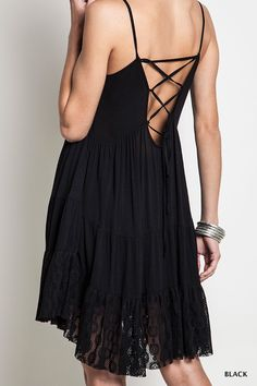 Tie Back Peasant Dress - Black   Knitted Belle Boutique