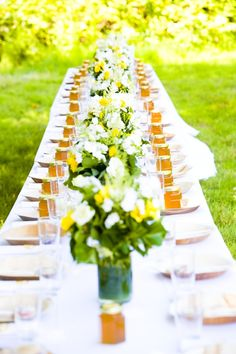 Long table and honey favours