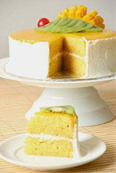 Mango cake is a real tasty one. I have made mango sponge cake and put together with whipped cream frosting and topped with Mango jel...