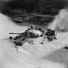 Sherman tank of 4th County of London Yeomanry fording the Volturno river at Grazzanise, Italy, 17 October 1943.