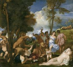 """The Bacchanal of the Andrians is an oil painting by Titian. It is signed """"TICIANUS F.[aciebat]"""" and is dated to 1523–1526.[1]  The painting is now held at the Museo del Prado in Madrid, but it was commissioned by Alfonso I d'Este for his Camerini d'alabastro ('chambers of alabaster') in Ferrara. The decorative programme included other major paintings celebrating Bacchus and Venus, the gods of wine and love.  The Bacchanal of the Andrians has been admired by other artists including Rubens who"""