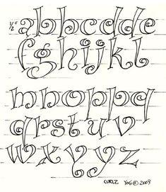"""Fun Letters Class # 3 """"Curlz"""" Examples - Susan's Page Graffiti Alphabet, Hand Lettering Alphabet, Doodle Lettering, Creative Lettering, Calligraphy Alphabet, Calligraphy Fonts, Fun Fonts Alphabet, Hand Lettering Exemplars, Script Fonts"""