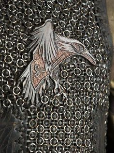This is an iron version of Ragnar's emblem, the raven, a strong symbol of his relationship to Odin.The raven also appears on the flag of his Viking craft. Ragnar Lothbrok, Vikings Ragnar, Vikings Tv Show, Norse Vikings, Floki, Ancient Vikings, Viking Life, Viking Art, Viking Runes